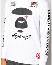 Aape White By A Bathing Ape Long Sleeved T-Shirt With Racer Print for men