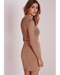 Missguided | Natural Mesh Top Mini Dress Camel | Lyst