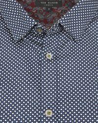Ted Baker - Blue Ls Geo Diamond Print Shirt for Men - Lyst