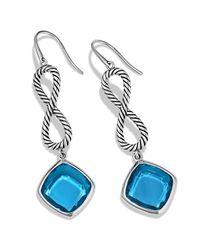 David Yurman Metallic Confetti Figureeight Drop Earrings with Blue Topaz