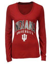 Adidas Red Women's Long-sleeve Indiana Hoosiers Sunlight Camo T-shirt