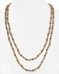 """Carolee - Natural Tonal Beaded Necklace, 60"""" - Lyst"""