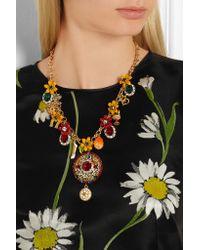 Dolce & Gabbana - Metallic Gold-plated Swarovski Crystal Necklace - Lyst