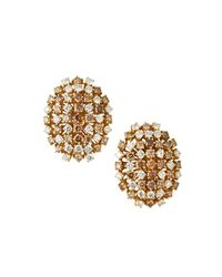 Roberto Coin | Metallic 18k Gold Oval Clip Earrings W/ White & Brown Diamonds | Lyst