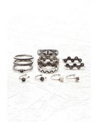Forever 21 - Metallic Rhinestone Midi Ring Set - Lyst