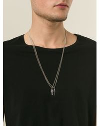 DSquared² - Metallic Double Chain Cross Pendant Necklace for Men - Lyst