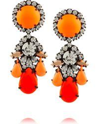 Shourouk Orange Marguerite Gunmetal-tone Painted Crystal Earrings