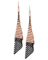 Steve Madden | Pink Two-Tone Mesh Drop Earrings | Lyst