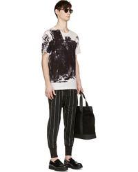 Yohji Yamamoto - White And Black Ink Roller Print T_shirt for Men - Lyst