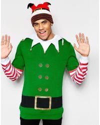 ASOS   Green Christmas Sweatshirt With Elf Print & Bells for Men   Lyst