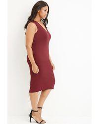 Forever 21 - Purple Plus Size V-neck Bodycon Dress - Lyst