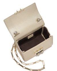 Luana Italy - White Anais Mini Metallic Leather Chain Crossbody Bag - Lyst
