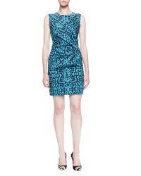 Lanvin | Blue Panther-print Side-draped Dress | Lyst