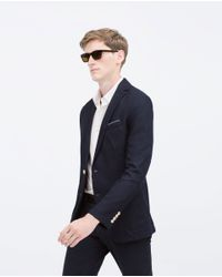 Zara | Blue Piqué Blazer With Elbow Patches for Men | Lyst