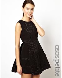 ASOS   Black Exclusive Skater Dress with Laser Cut Detail   Lyst
