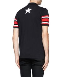 Givenchy - Black Star Stripe Polo Shirt for Men - Lyst
