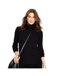 Polo Ralph Lauren | Black Cabled Merino Wool Turtleneck | Lyst