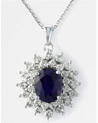 Effy | Blue Sapphire, Diamond And 14k White Gold Pendant Necklace, 1.02 Tcw | Lyst