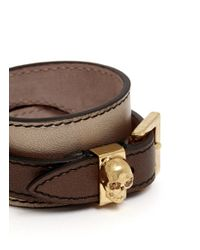 Alexander McQueen | Brown Double Wrap Skull Metallic Leather Bracelet | Lyst