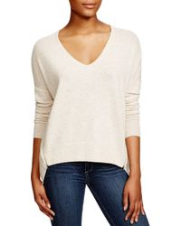 Aqua | Natural Cashmere V-neck Sweater With Zips | Lyst