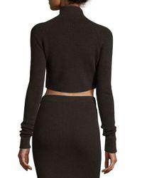 Jason Wu - Brown Ribbed Turtleneck Crop Sweater - Lyst
