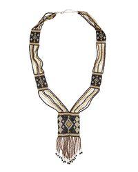 Nakamol - Diamondpattern Beaded Fringe Necklace Blackgold - Lyst