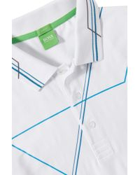 BOSS Green - Blue 'paule' | Slim Fit, Stretch Cotton Polo Shirt for Men - Lyst