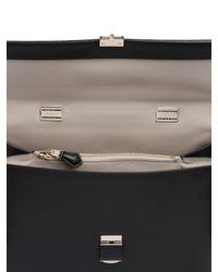 Giorgio Armani - Black Charniere Doree' Leather Top Handle Bag - Lyst