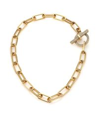 Michael Kors | Metallic Cityscape Chains Pavé Toggle Necklace | Lyst