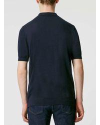 TOPMAN - Black Navy Polo Neck Knitted T-shirt for Men - Lyst