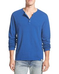 Lucky Brand | Blue 'duofold' Double Faced Knit Long Sleeve Henley for Men | Lyst
