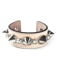 Alexander McQueen - Metallic Spiked Leather Cuff Bracelet - Lyst