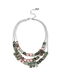 Kenneth Cole - Metallic New York Silvertone Geometric Shell and Crystal Multirow Necklace - Lyst