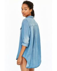 BDG - Blue Drapey Chambray Button-down Shirt - Lyst