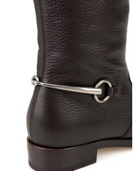 Gucci Brown Horsebit Leather Riding Boots