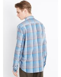 VINCE | Blue Melrose Space Dyed Plaid Button Up for Men | Lyst