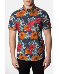7 Diamonds | Blue 'waikiki' Trim Fit Short Sleeve Floral Print Woven Shirt for Men | Lyst