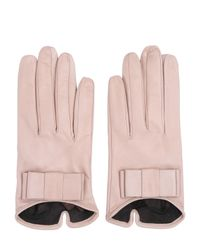 Mario Portolano Pink Nappa Leather Gloves With Bow