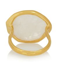 Monica Vinader - Metallic Riva Gold-Plated Diamond And Moonstone Ring - Lyst