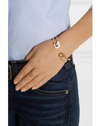 Iam By Ileana Makri - White Enameled Gold-Plated Safety Pin Cuff - Lyst