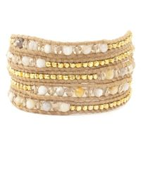 Chan Luu - Natural African Opal Mix Wrap Bracelet On Beige Leather - Lyst