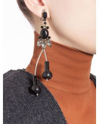 Marni | Black Runway Earrings In Strass, Horn And Metal | Lyst