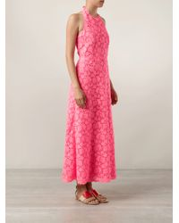Valentino - Pink Halter Lace Dress with Full Skirt - Lyst
