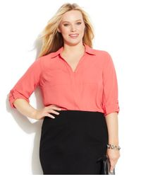 INC International Concepts - Pink Plus Size Split-Neck Roll-Tab-Sleeve Top - Lyst