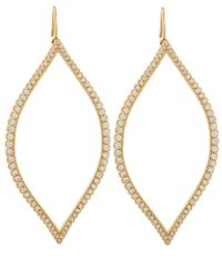 Jamie Wolf Metallic Gold Diamond Open Marquis Leaf Earrings