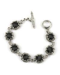 Konstantino Black Silver Link Bracelet W/ 7 Square Onyx Stations