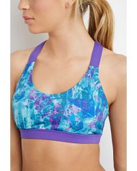 Forever 21 Blue Medium Impact - Abstract Sports Bra You've Been Added To The Waitlist