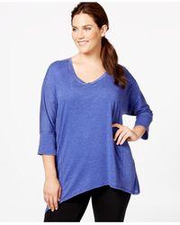 Calvin Klein | Purple Performance Plus Size Handkerchief-hem Top | Lyst