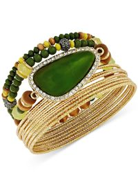 INC International Concepts | Gold-tone Green Stone Bangle Bracelet Set | Lyst