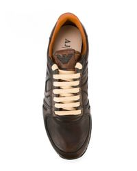 Armani Jeans Brown Leather Sneaker for men